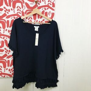 Isela Woman	V-Neck S/S Blouse with Tassles NWT
